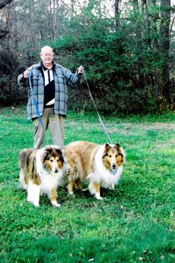 Queenie and Princess take Neil for a dog walk.